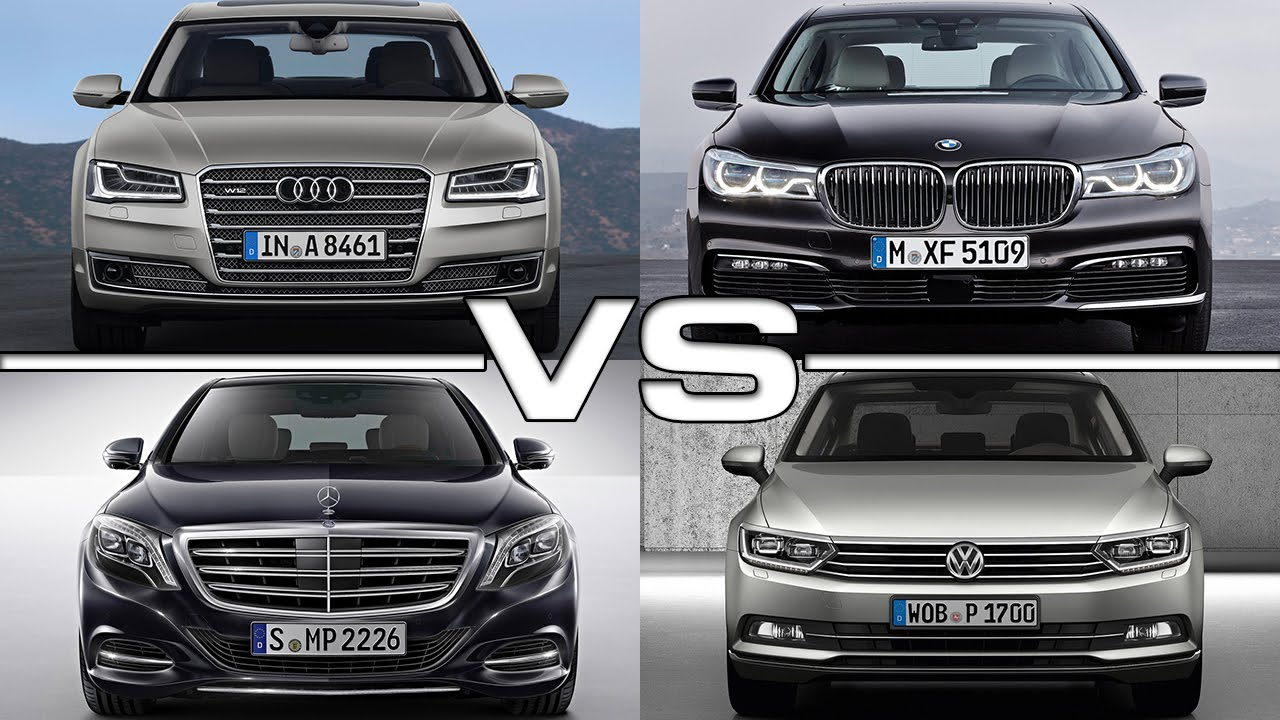 audi a8 vs bmw 7 series vs mercedes s class vs vw passat youtube. Black Bedroom Furniture Sets. Home Design Ideas