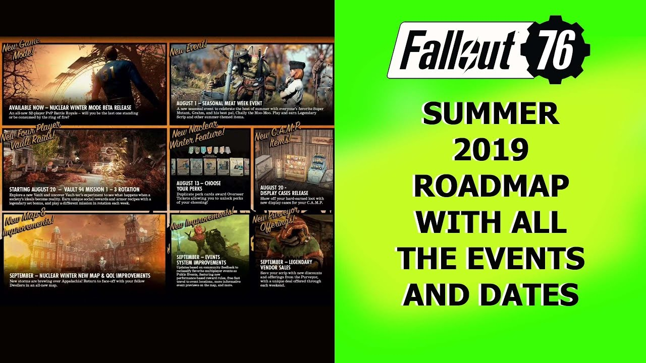 Fallout 76 Summer 2019 Roadmap with all the events and dates