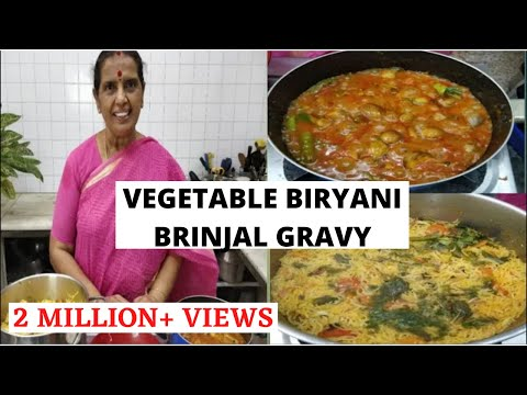 Vegetable Briyani/Brinjal gravy/Onion