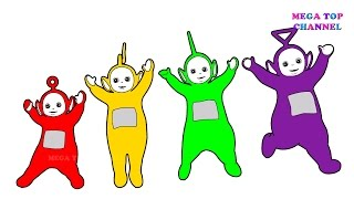 Learn Colours For Children With Teletubbies Tinky Winky Lala Po Dipsy Colouring Pages
