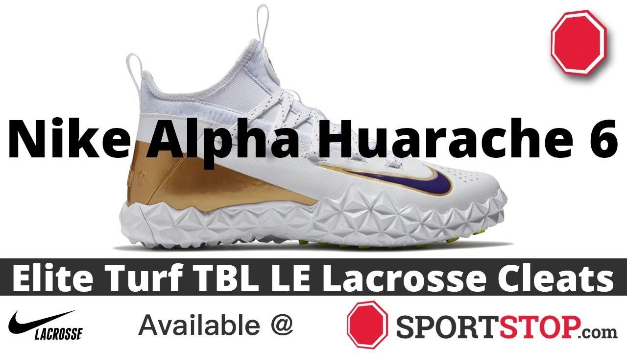a426cf228050 Nike Alpha Huarache 6 Elite Turf TBL LE Lacrosse Cleat Product Video  @SportStop.com