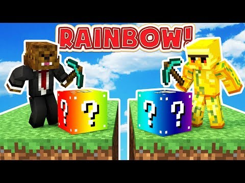 Minecraft 1V1V1V1 RAINBOW LUCKY BLOCK SKYWARS! | (Minecraft Modded Minigame)