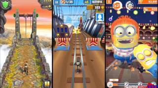 TEMPLE RUN 2 vs SUBWAY SURFERS vs MINION RUSH - 3 Most Popular Running Games(MORE FUNNY RUNNING GAMES IN PLAYLIST - https://www.youtube.com/playlist?list=PL8wZKON07iXVwDITP328Vof8DuuGBOai3 My Channel ..., 2015-10-08T18:30:00.000Z)