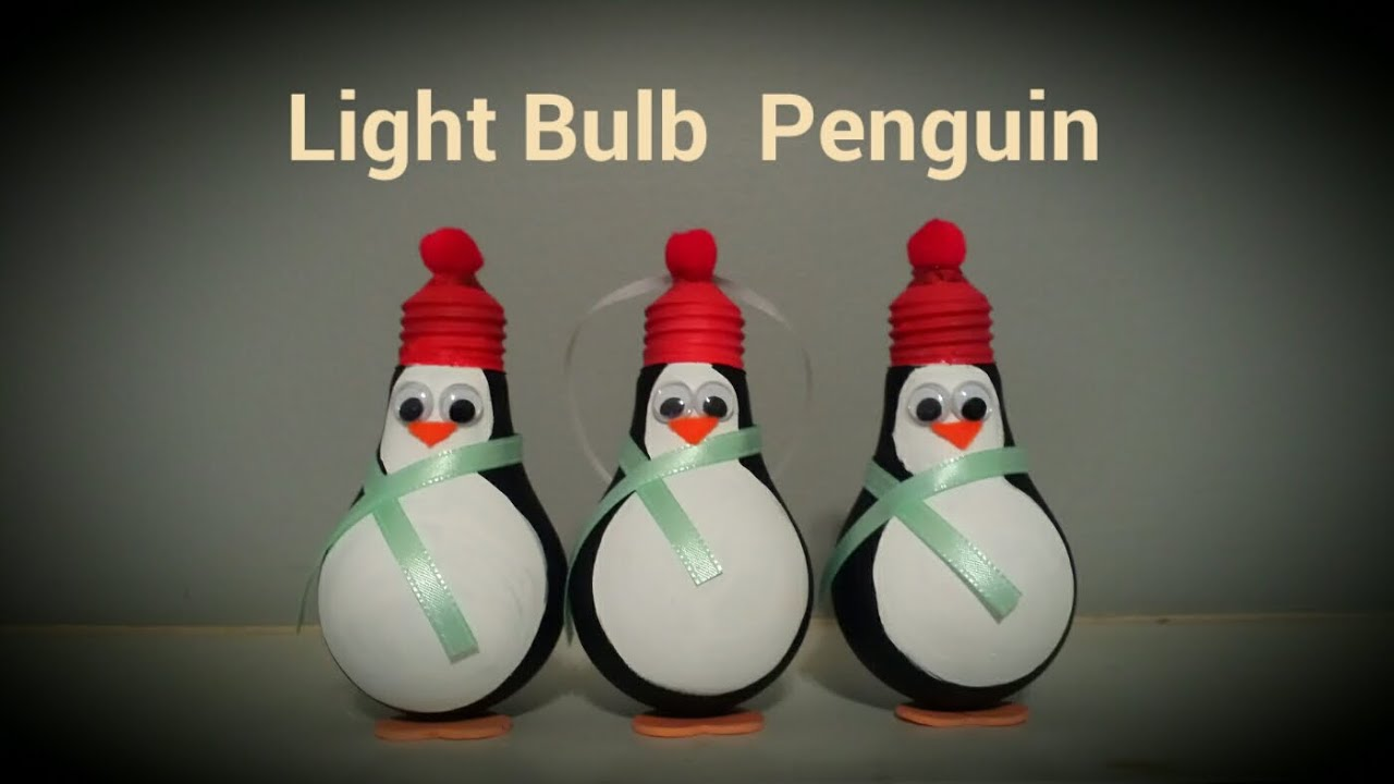 Light Bulb Penguin Christmas Ornament | By Craft Happy ...