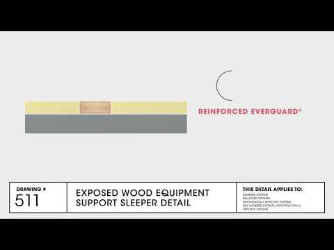 Exposed Wood Equipment Support Sleeper Detail for TPO Commercial Roofing   GAF Drawing 511