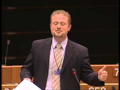 Joseph Muscat making a scene at the European Parliament