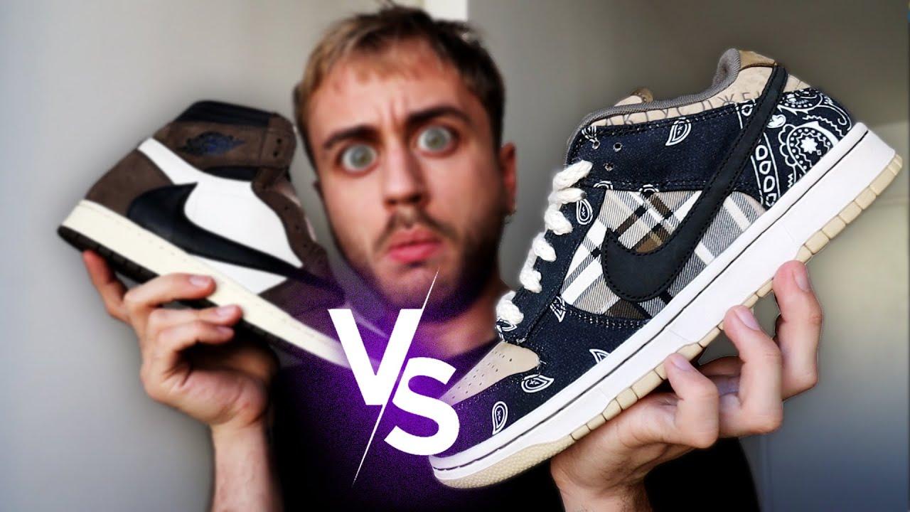 Duel de Sneakers ! (Jordan 1 Retro High VS Dunk Low Travis Scott)