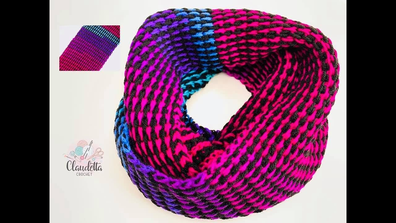 Tunisian Crochet Rainbow Scarf Full Stitch Beginner Youtube