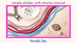 Simple Choker Necklace With Charm Tutorial