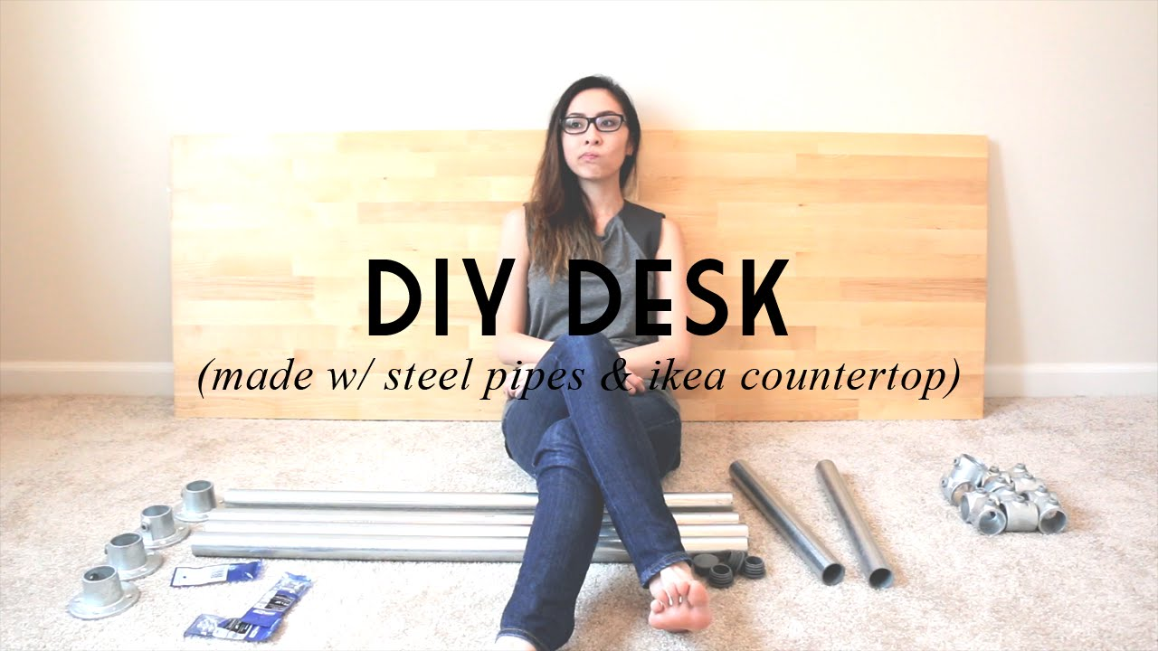 DIY DESK (Made w/ Steel Pipes & IKEA Countertop) | catabot ...