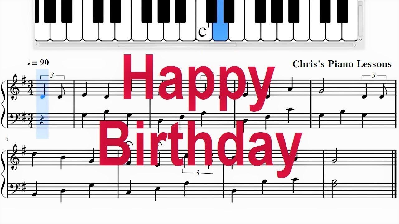 Happy Birthday Easy Piano Sheet Music Notes Fast Slow Youtube