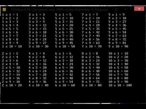 Turbo C Tablas De Multiplicar Del 1 Al 10lik Youtube