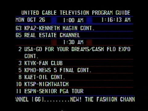 United Cable Electronic Program Guide (Phoenix, AZ - Mon 10/26/1987)