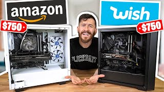 WISH vs. AMAZON - Cheapest Gaming PC Build Challenge!!