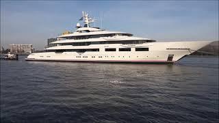 The 90m/ 295ft DreAMBoat left Rotterdam for Alblasserdam yesterday