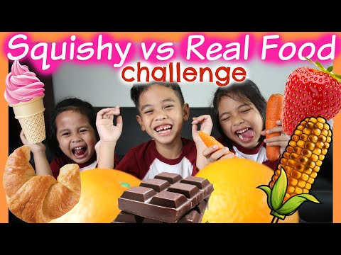 SQUISHY vs REAL FOOD CHALLENGE Part 1  TheRempongs