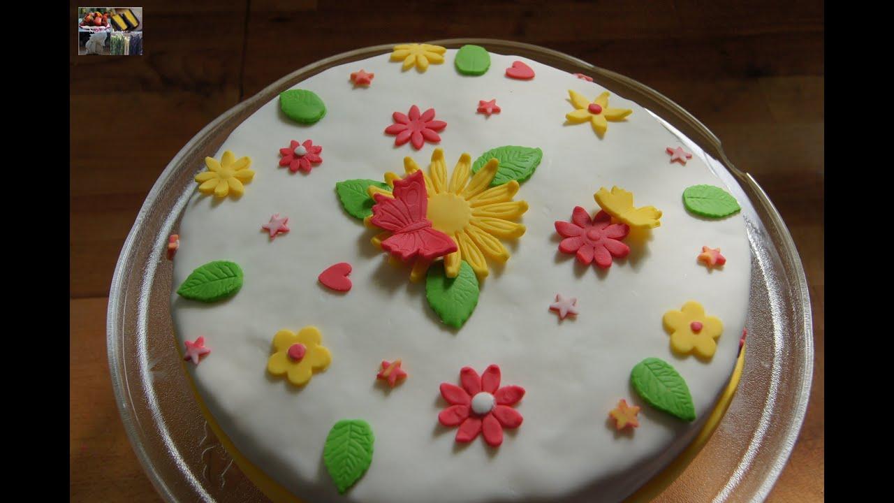 Fondant Torte Erdbeer Zitronencreme Torte  Rezept und