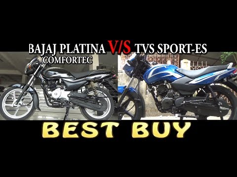 NEW BAJAJ PLATINA COMFORTEC OR TVS SPORT ES WHICH ONE TO BUY COMPARISON VIDEO