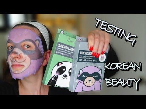 Testing Korean Beauty || The Creme Shop Animated Racoon Mask Demo