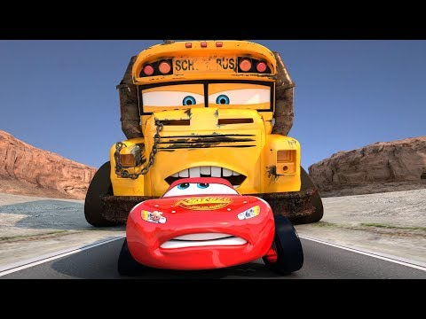 Miss Fritter Races Lightning McQueen Disney Pixar Cars Toons Race Day PART 3