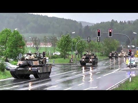 U.S. Tanks & Howitzers Passing Through German Town