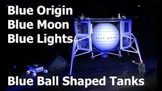 Blue Origin's Blue Moon, in Blue Lights Showing Big Blue Spherical Fuel Tanks