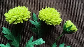 ABC TV | How To Make Green Chrysanthemums Paper Flower From Crepe Paper - Craft Tutorial