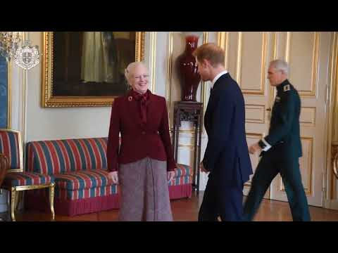 Queen Margrethe receives Prince Harry at Amalienborg