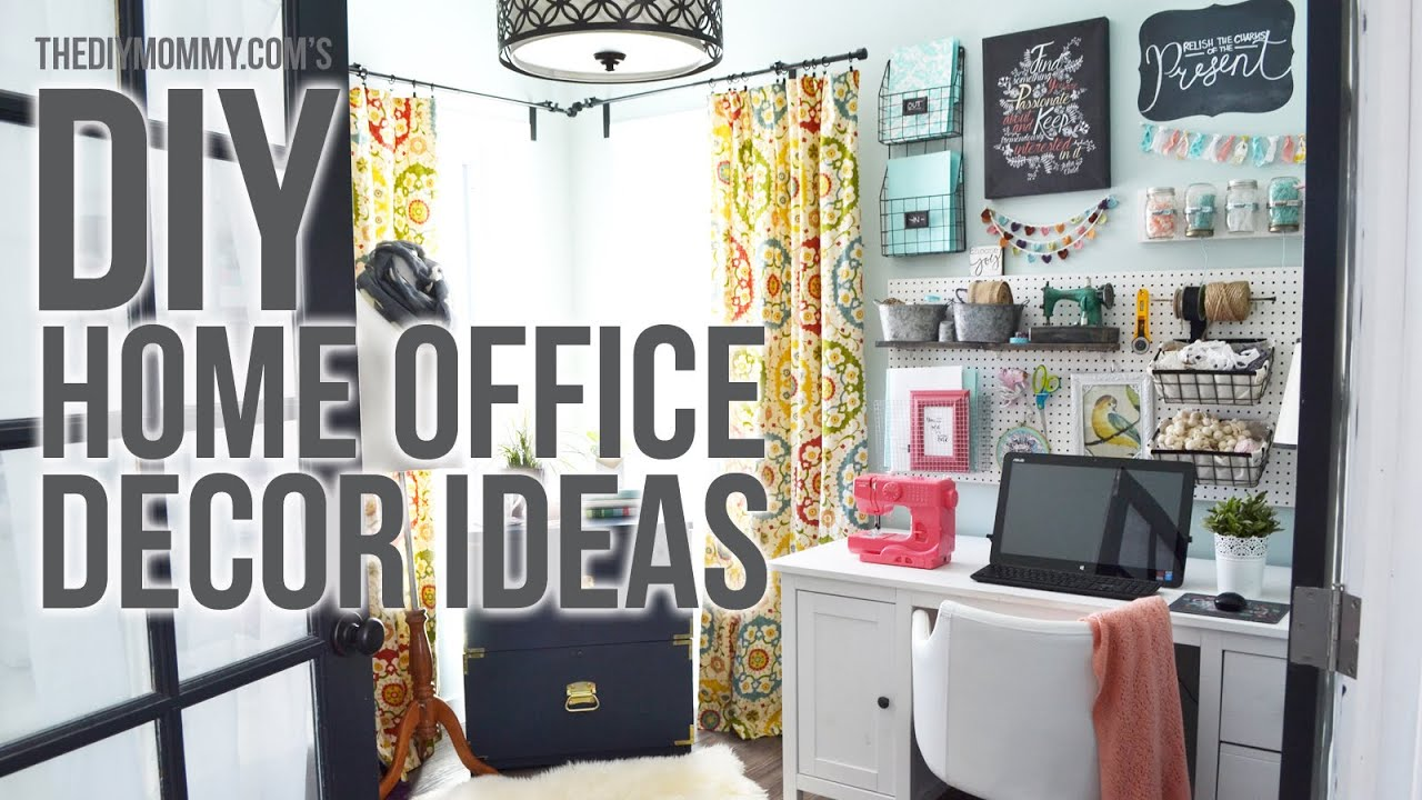Craft Room Home Office Tour // 3 Easy DIY Office Decor Ideas   YouTube