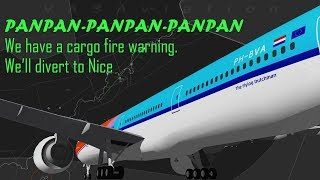[REAL ATC] KLM B773 diverts into Nice with possible fire onboard!
