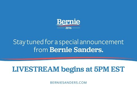 A Special Announcement from Senator Bernie Sanders