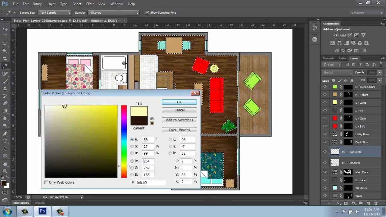 Adobe Photoshop Cs6 Rendering A Floor Plan Part 5