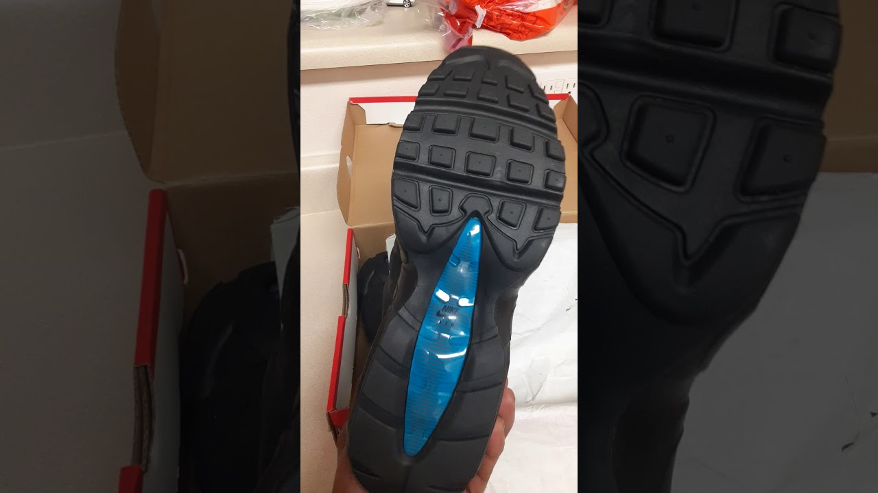 Brillante es suficiente veterano  Dhgate 100%$ real authentic Air Max 95 black / Imperial Blue unboxing -  YouTube