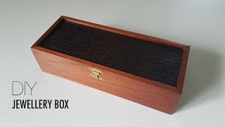 The jewellery box is made from Wendge and Australian Red Cedar reclaimed from an old RSL club. The design and construction of