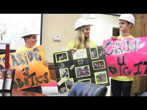 Seaside Neighborhood School robotics team presents to InDyne, Inc.