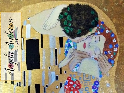 """Klimt's """"The Kiss"""" Acrylic Painting Instruction LIVE Full Length Tutorial 