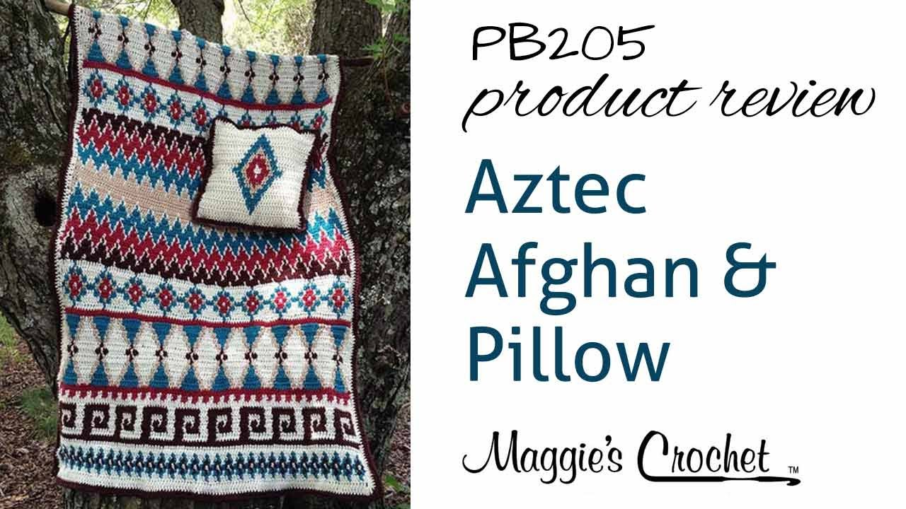 Aztec Afghan & Pillow Set Crochet Pattern Product Review PB205 - YouTube