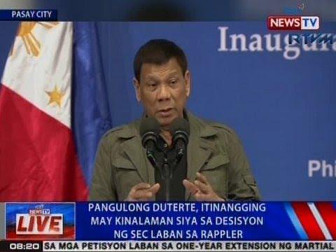 NTVL: Pangulong Duterte, itinangging may kinalaman siya sa desisyon ng SEC vs. Rappler