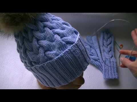 Вязание спицами шапка коса с тенью видеоурок