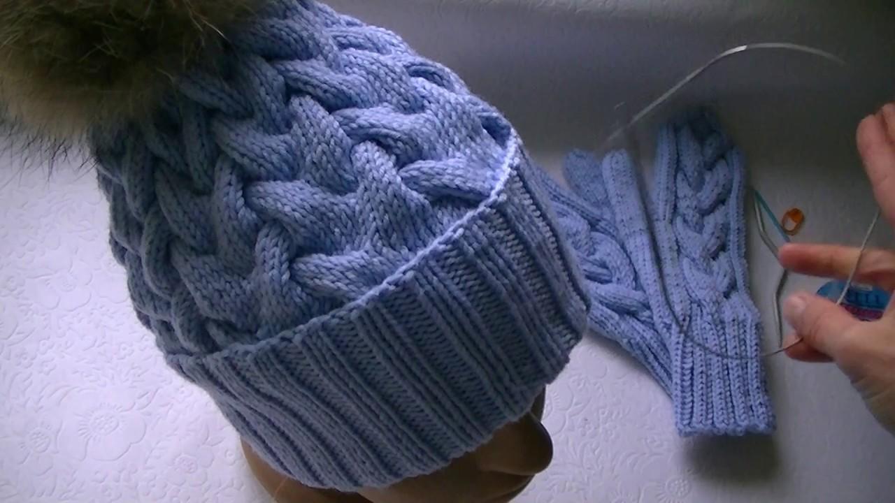 вязание шапки узором коса с тенью с 15 петель Youtube