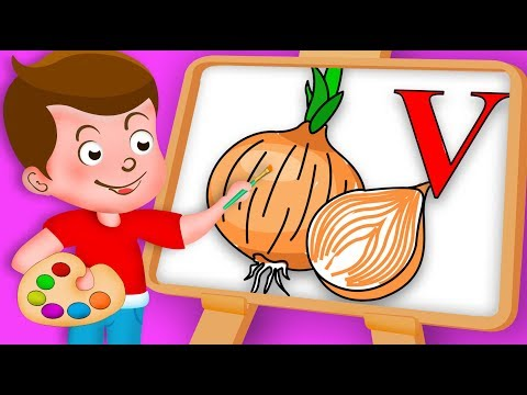 Drawing Alphabet V with vidalia onion Vegetable Drawing Paint And Colouring For Kids kidsdrawin