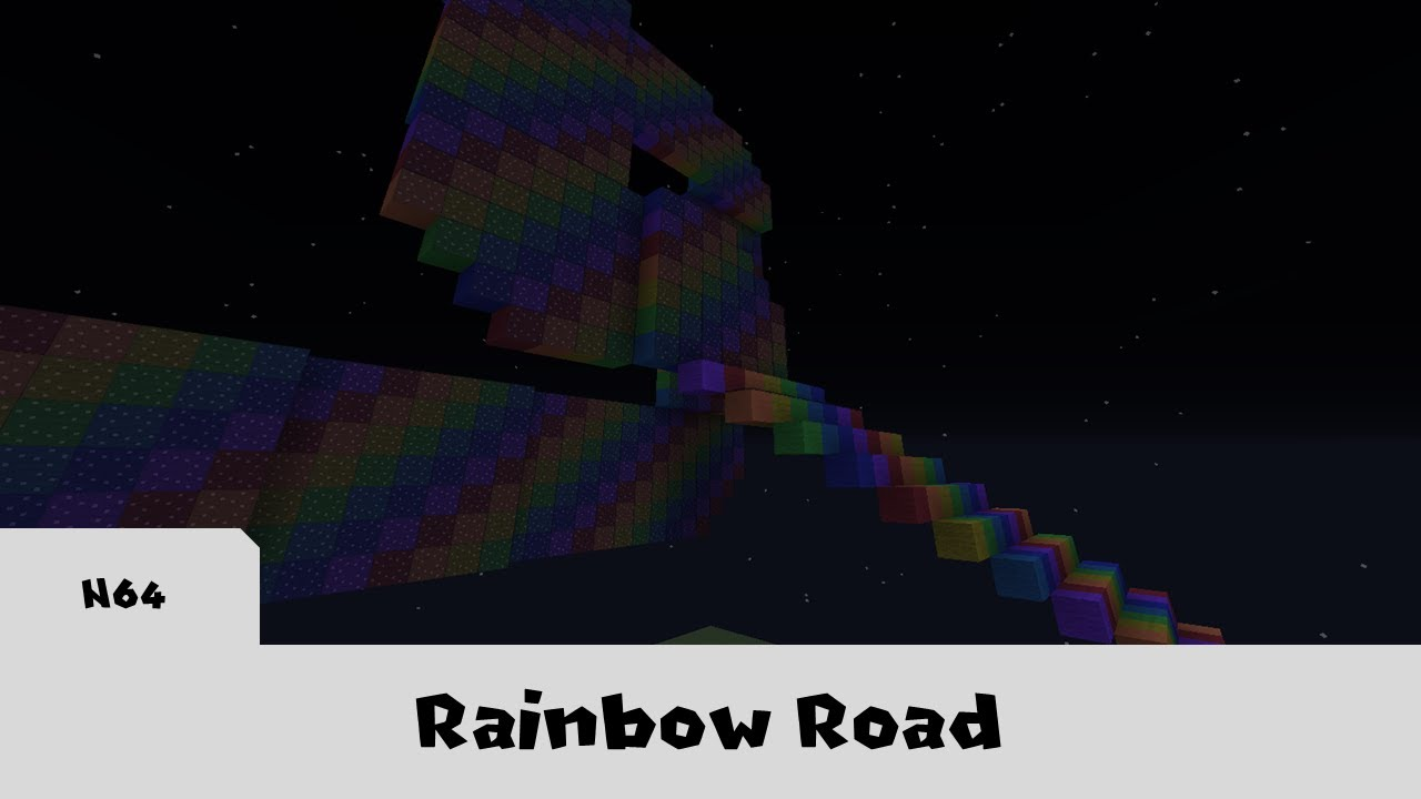 Rainbow Road Mario Kart 64 In Minecraft Youtube