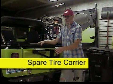 jeep cj7 spare tire carrier youtube. Black Bedroom Furniture Sets. Home Design Ideas