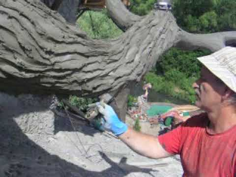 мастер  класс  как  сделать  кору дерева    из  цементного раствора. арт  бетона