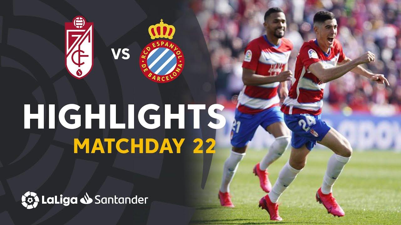 Highlights Granada Cf Vs Rcd Espanyol 2 1 Youtube