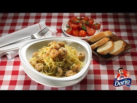 Spaghetti Doria Clásico con camarones