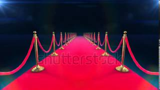 stock footage unrolling red carpet animation and paparazzi camera flashes