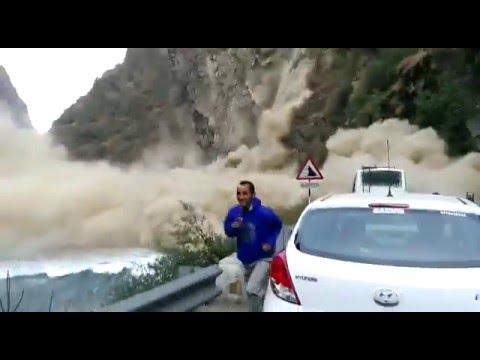 Massive landslide blocks road in Kullu region of Himachal