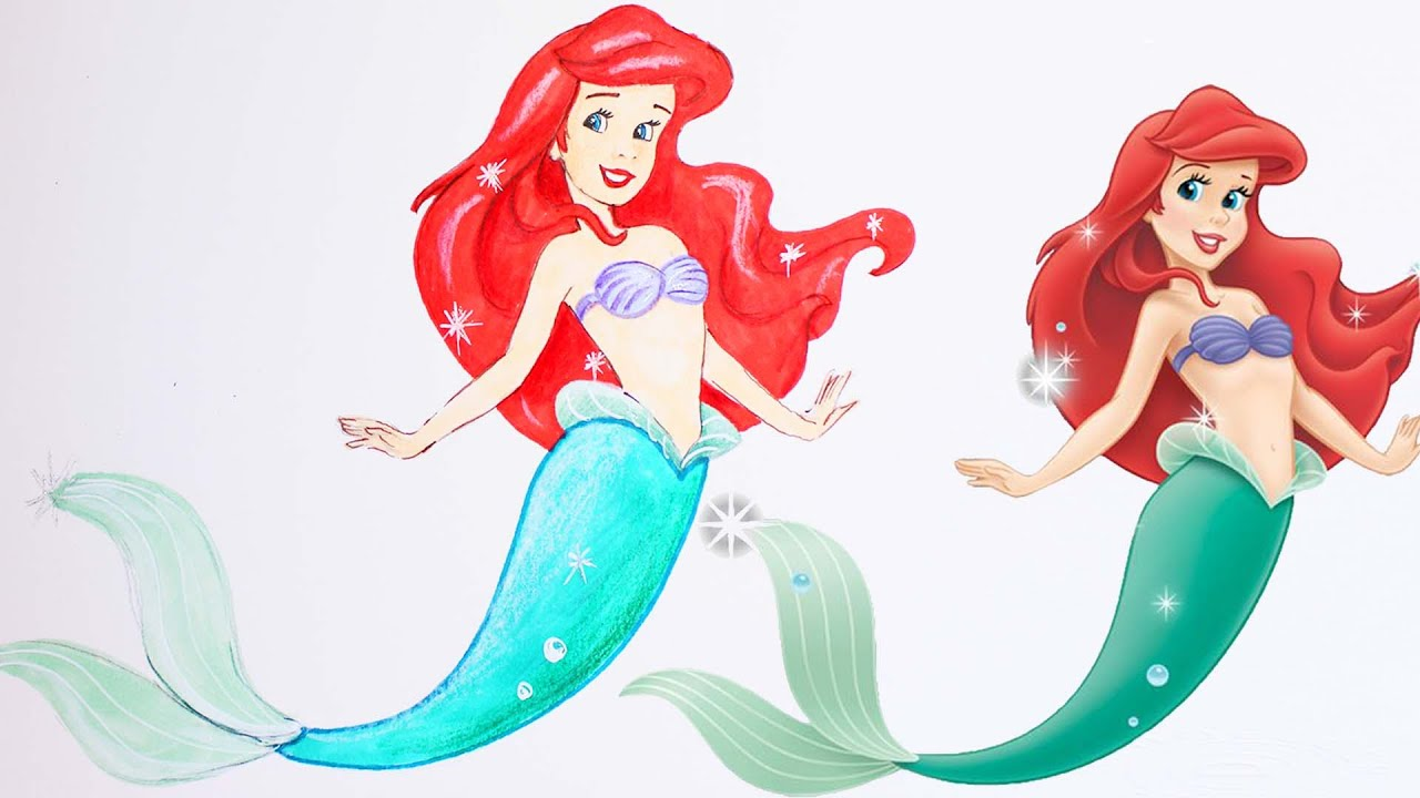 The Little Mermaid Ariel Drawing Coloring How To Draw And Color