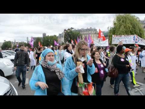 Paris : Manifestation du personnel hospitalier contre la réforme des 35 heures